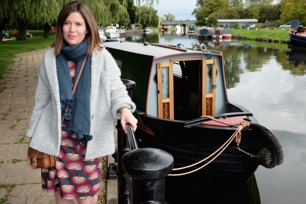 Narrow boat by the river in Ely
