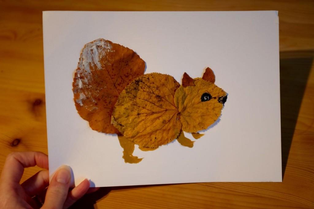 Squirrel leaf art
