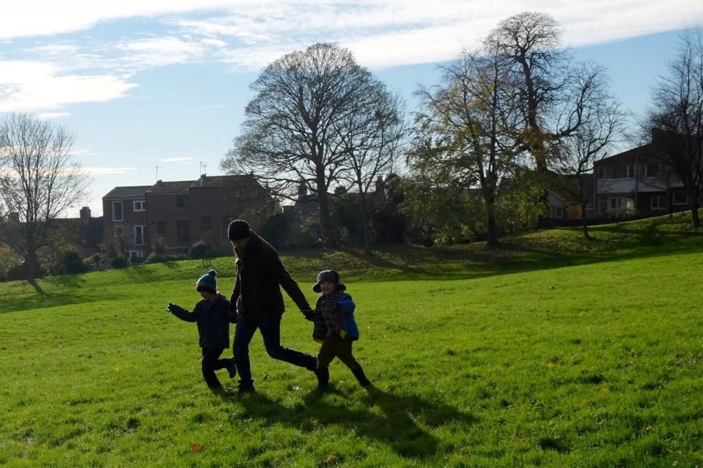 Running down a hill