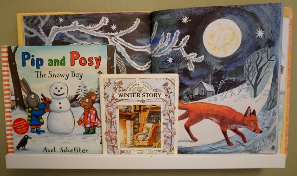 Winter children's bookshelf