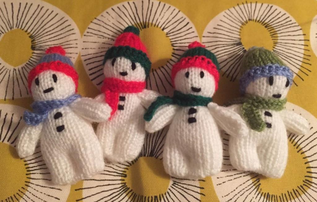 Jean Greenhouse knitted snowmen