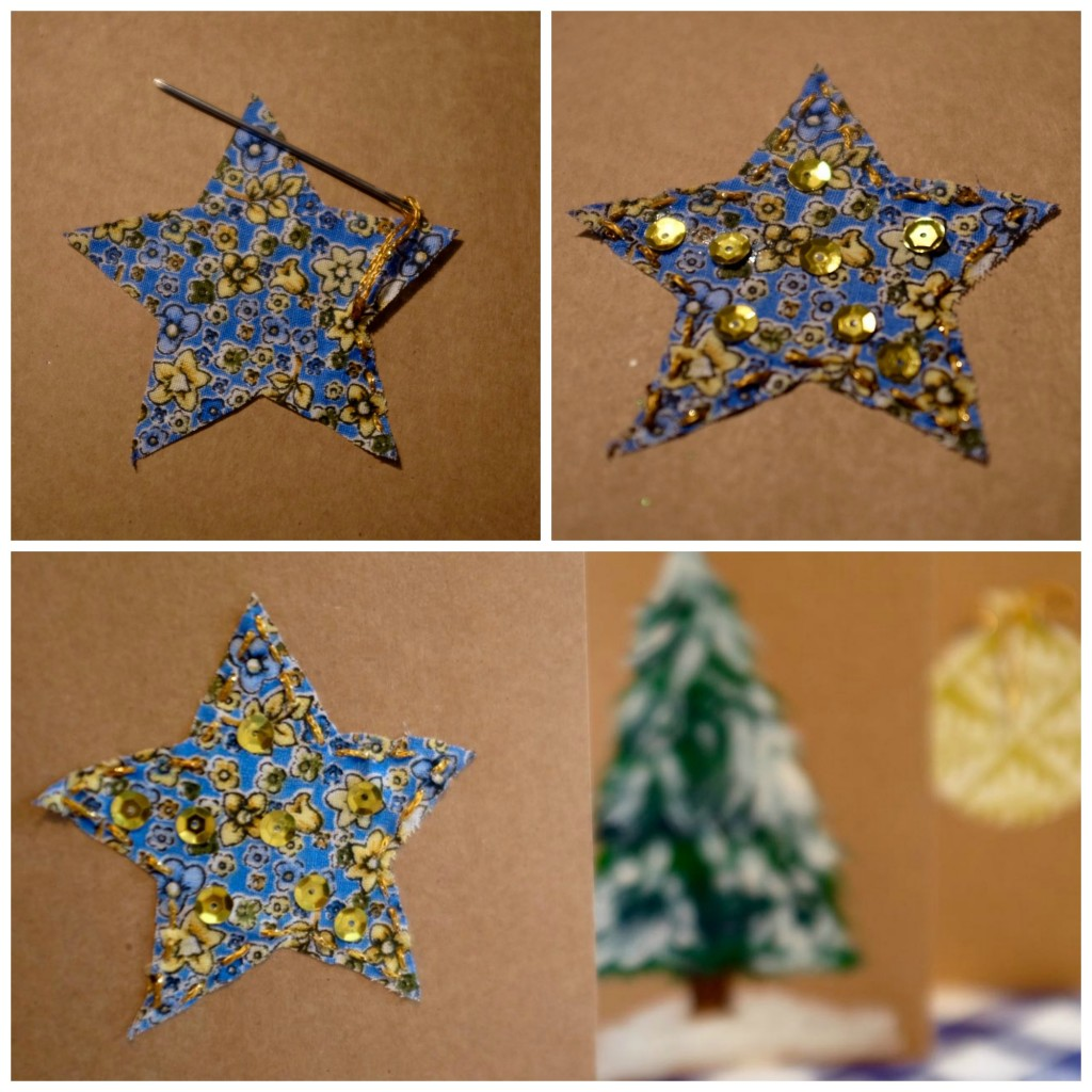 sparkly fabric star christmas card idea