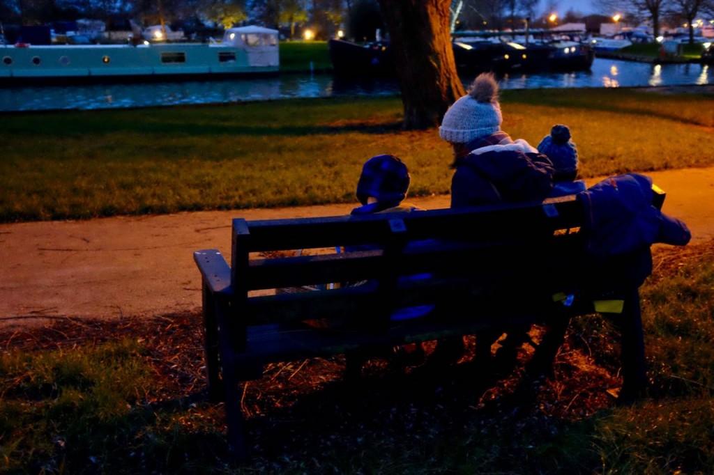 A picnic at dusk