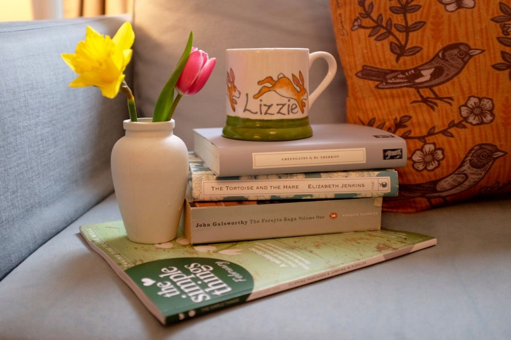 Spring flowers and books