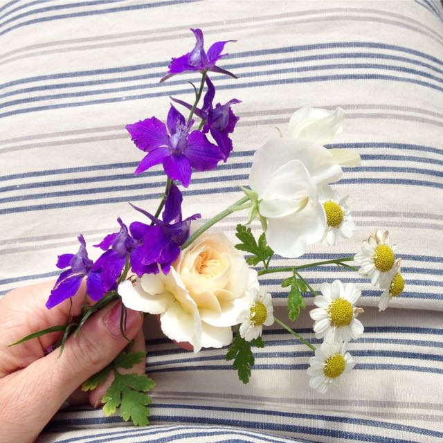 summer flower posy: larkspur, sweet pea, rose, daisy