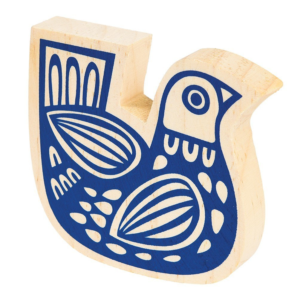 Wooden folk bird ornament