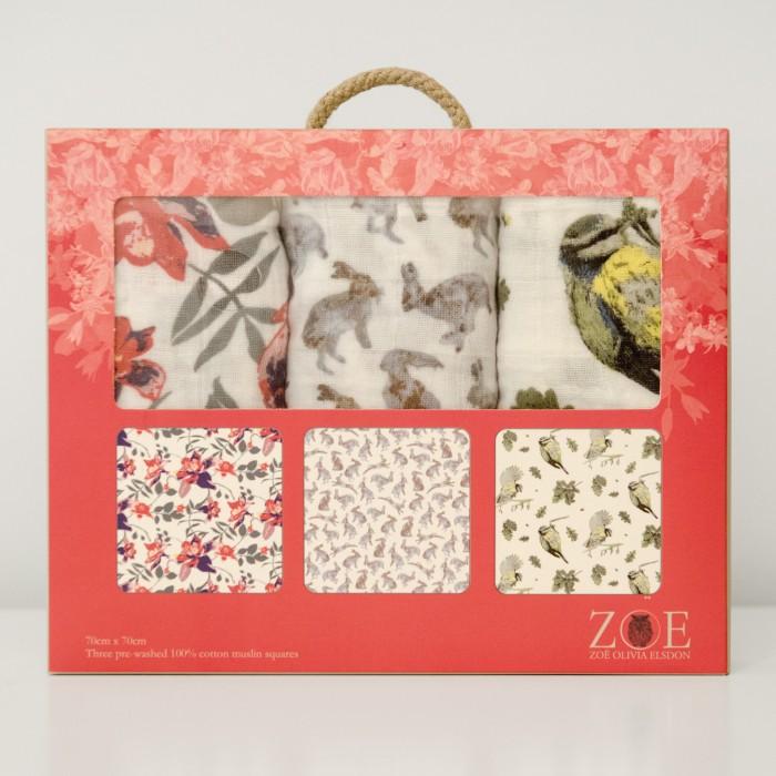 Woodland printed baby muslin squares