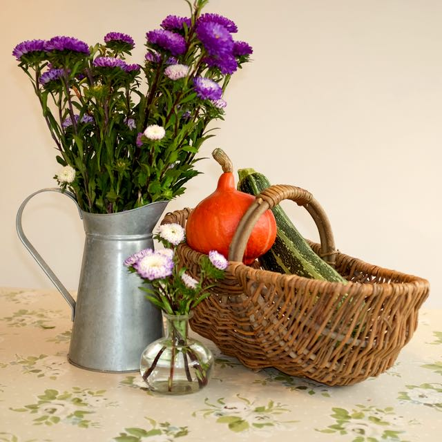 Autumn vegetables and flowers