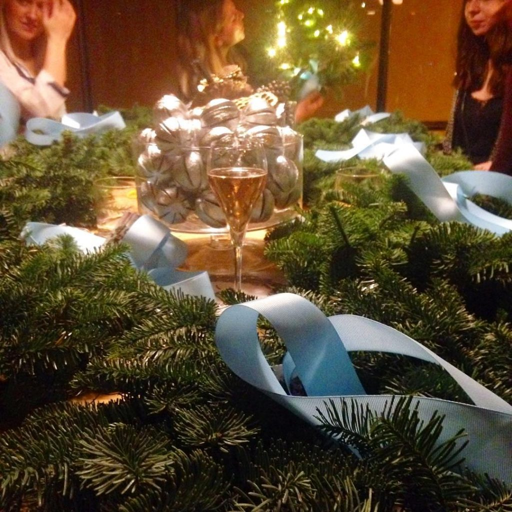 Wreath making at the W channel Christmas party