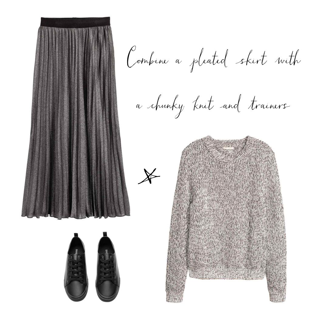 Chunky jumpers and pleated skirts