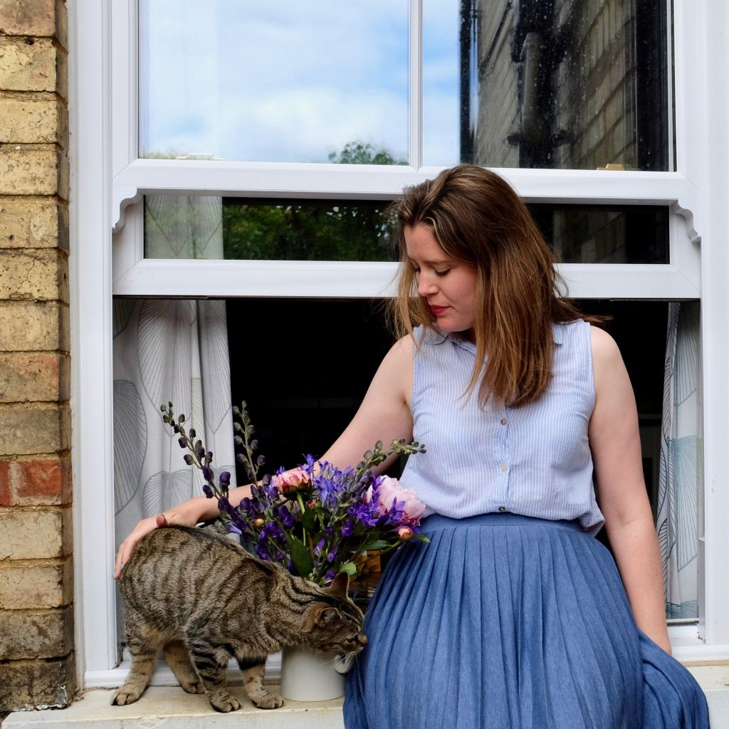 Cats, flowers and window