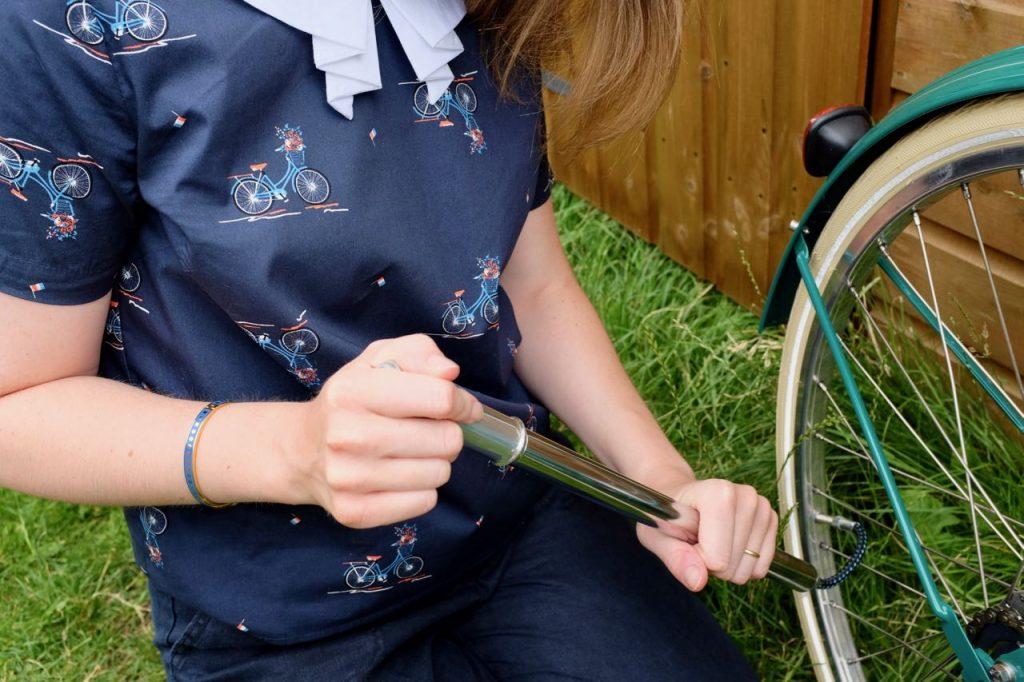 Joanie Honor Bicycle Print Collar Top