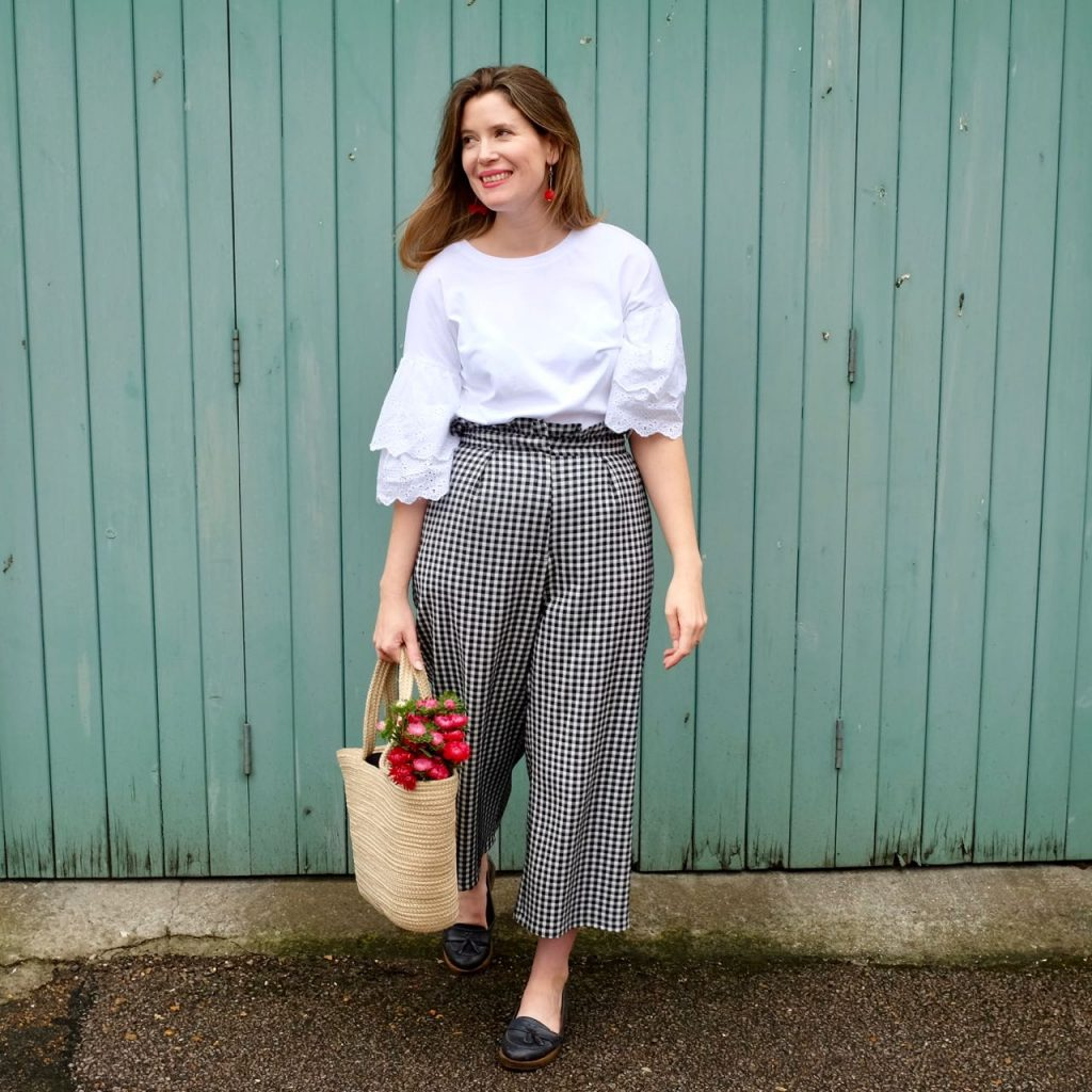 Topshop gingham trousers and broderie anglaise top