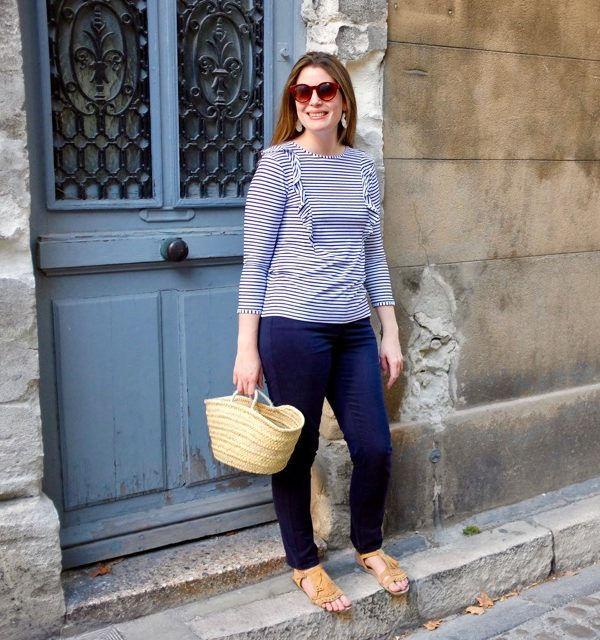 Stripy tees and navy blues – your new transitional uniform