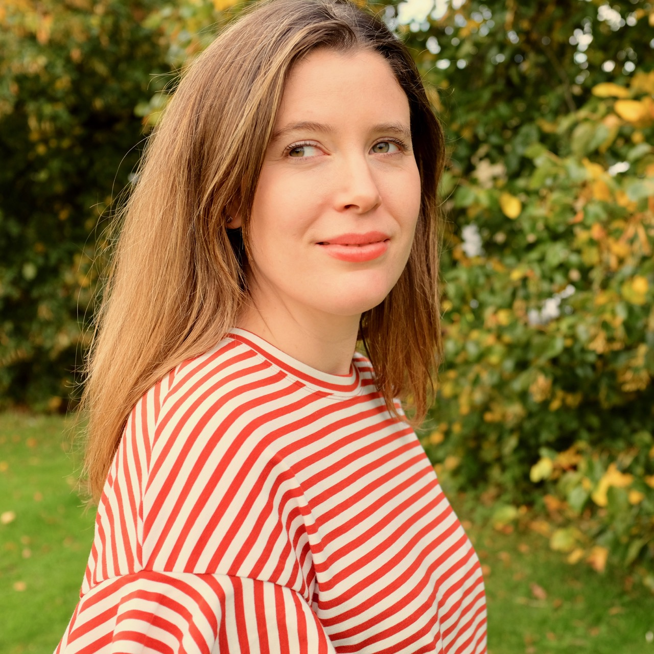 Red and white stripy top
