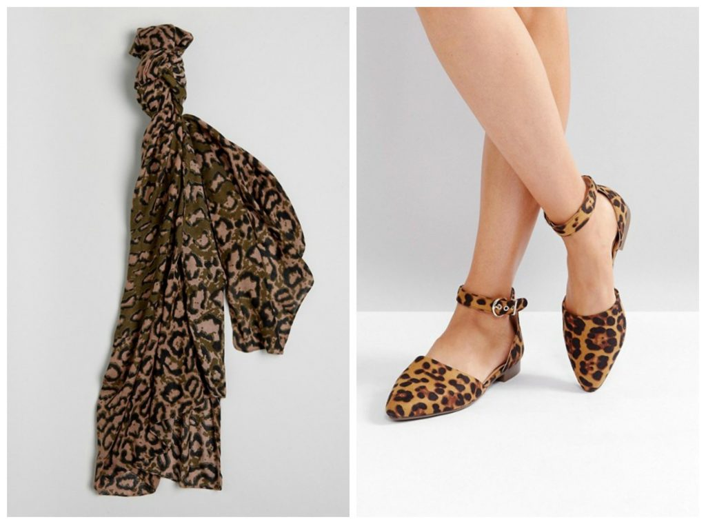 Leopard print shoes and scarf