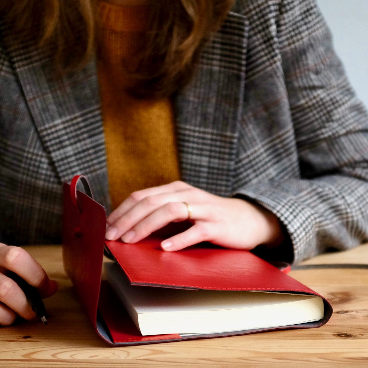 Italian red leather journal by Central Crafts