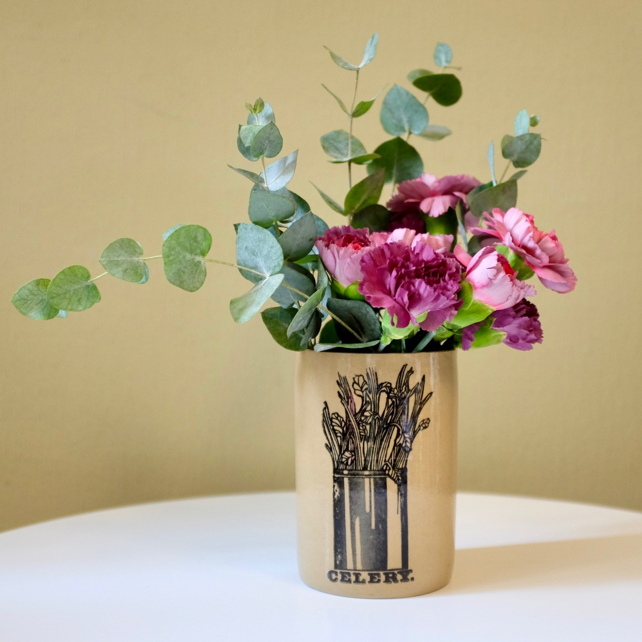 Carnations and eucalyptus