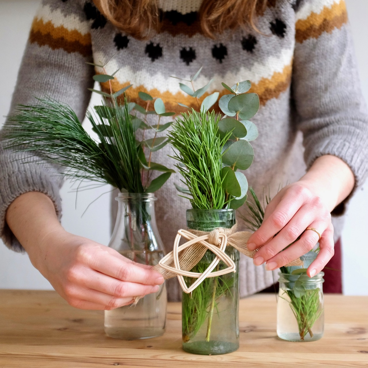 Gathering greenery for Christmas
