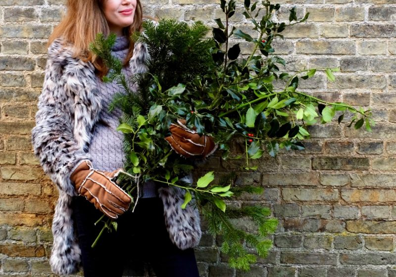 Gathering greenery for Christmas