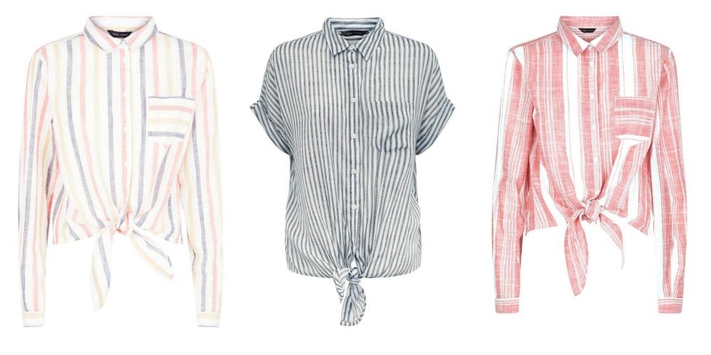 Stripy tie front shirt