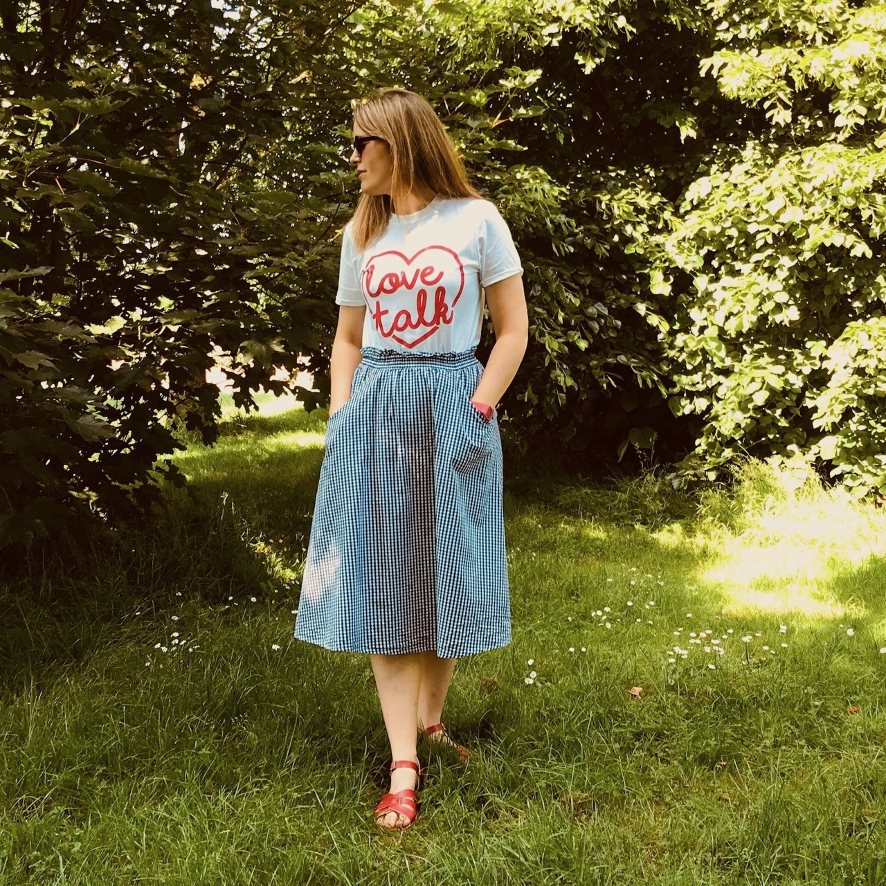 Slogan tees and midi skirts