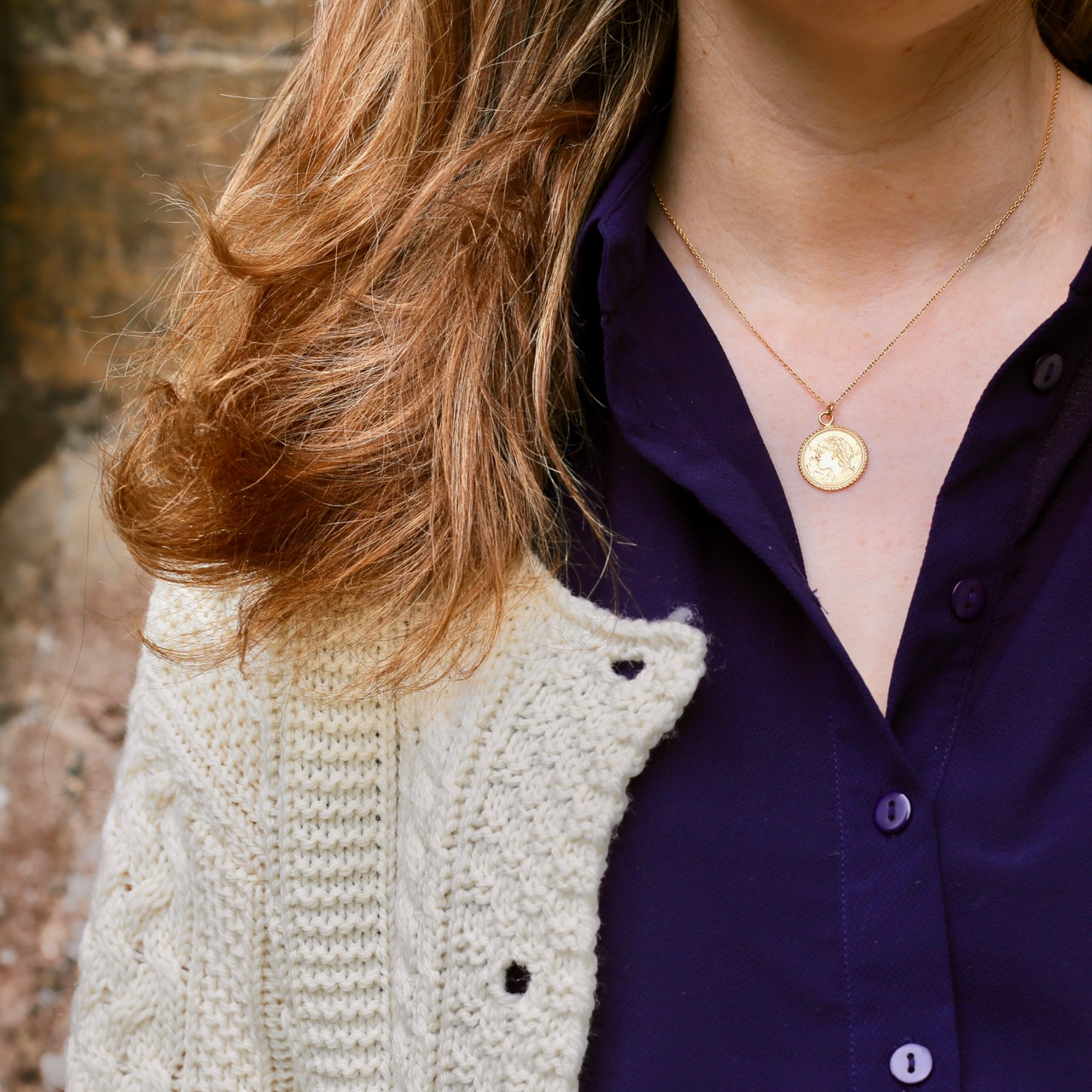 Celtic & Co Cardigan and gold coin necklace