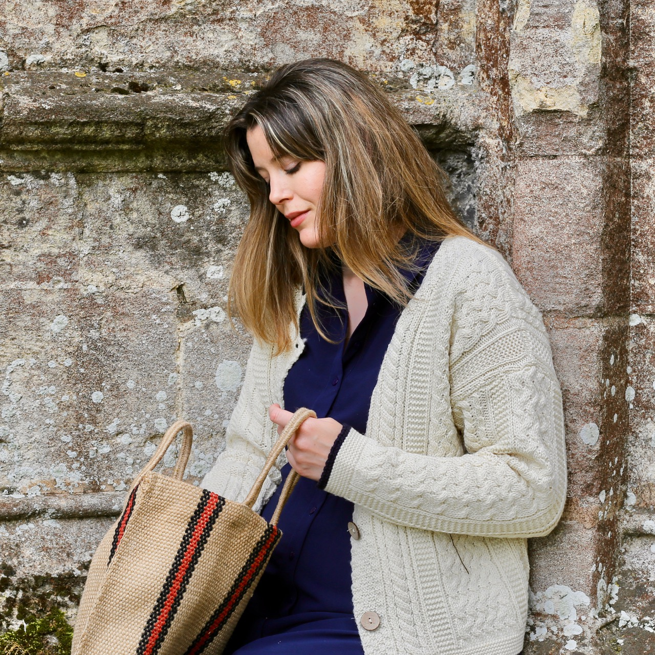 Celtic & Co Cardigan and Turtle Bags jute bag