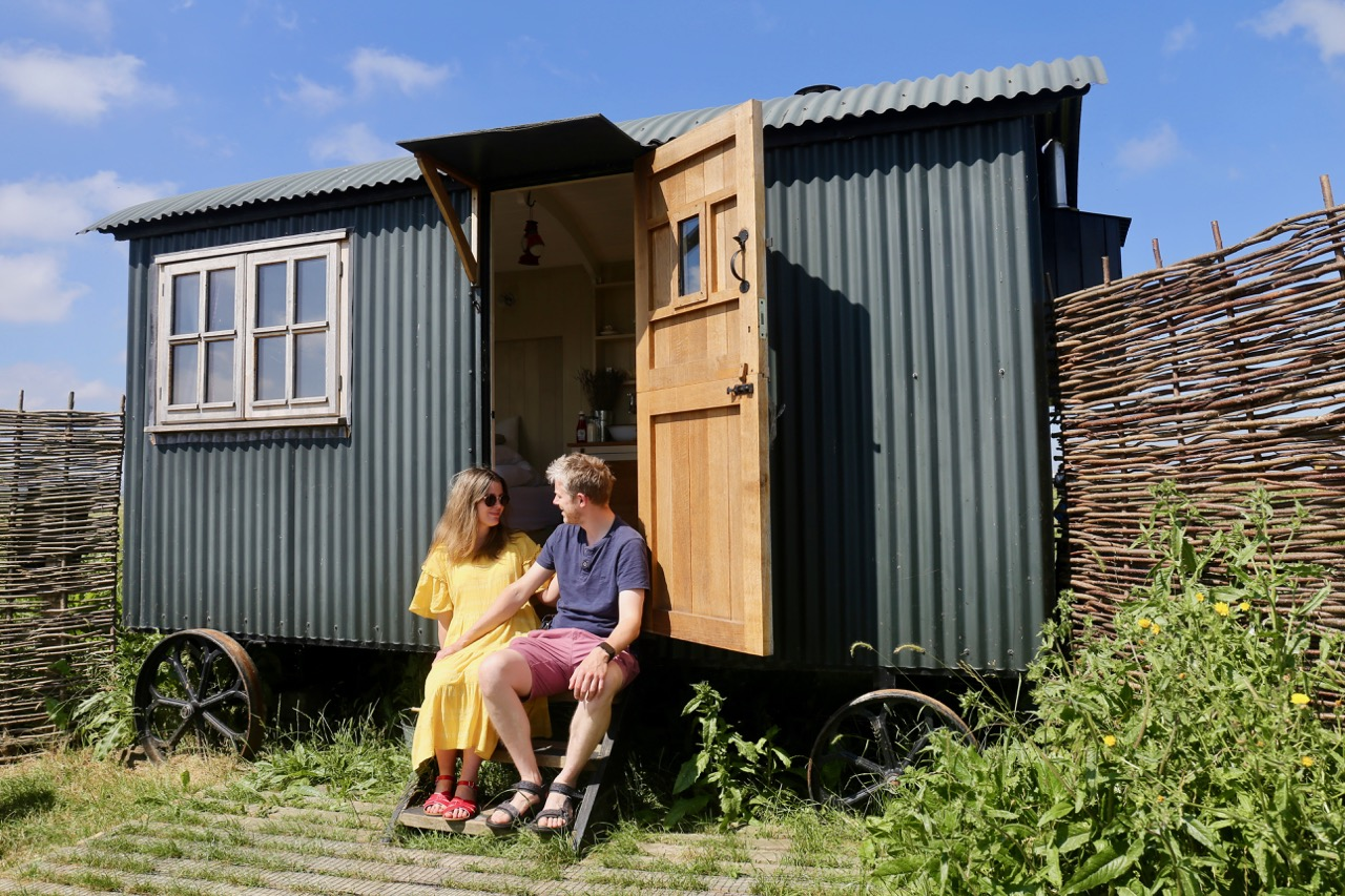 Plankbridge shepherd's hut at Elmley nature reserve