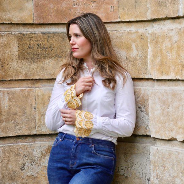Boden Bronwen shirt and Cavendish girlfriend jeans