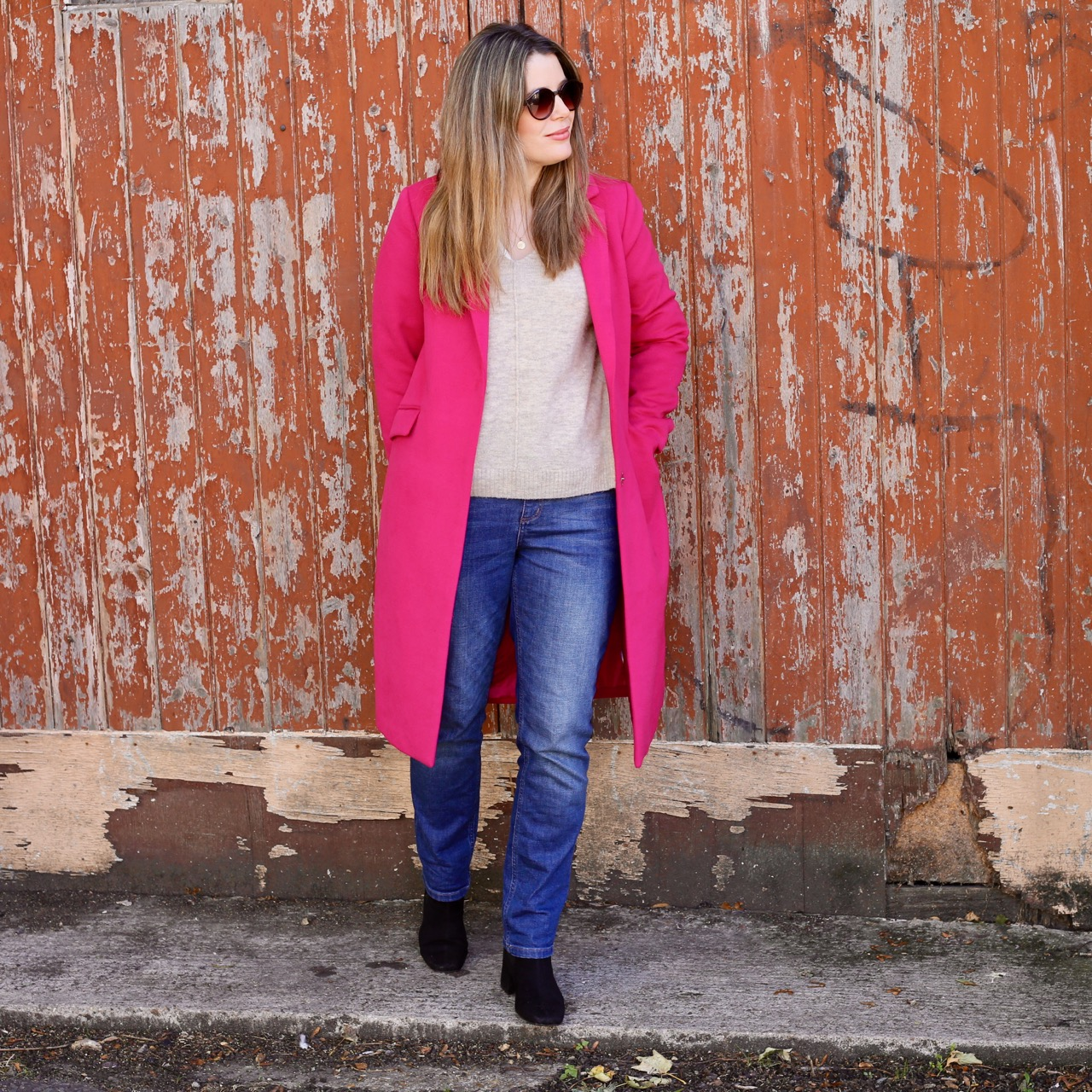 Pink coat and jeans