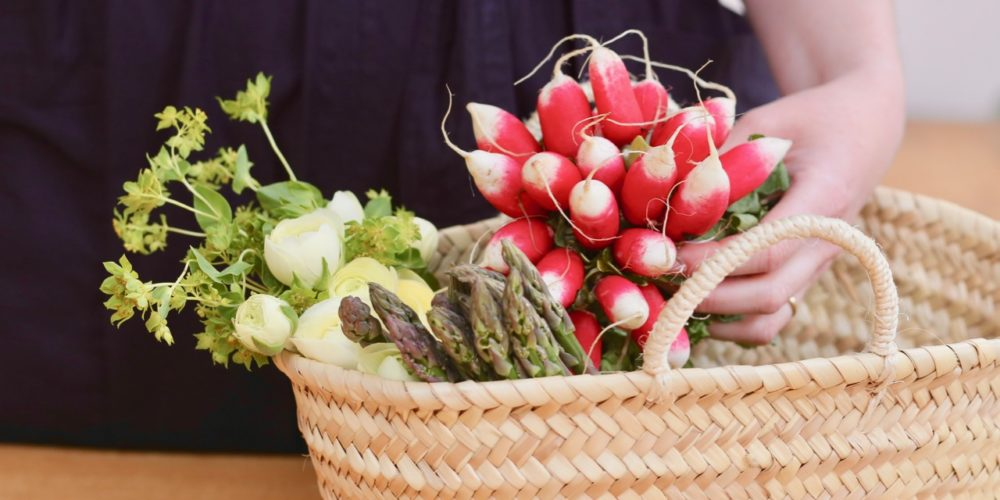 Market produce: Radishes and asparagus