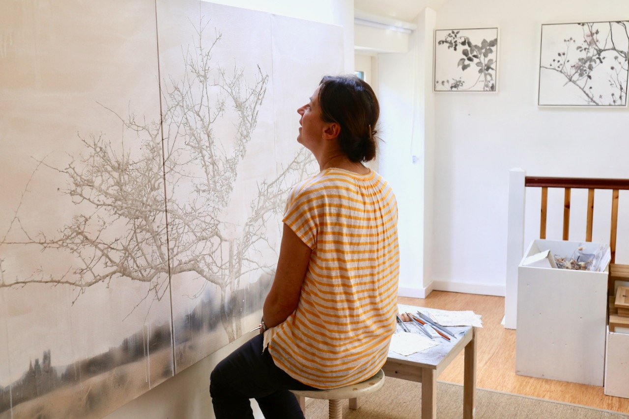 Melanie Goemans, artist, in her studio