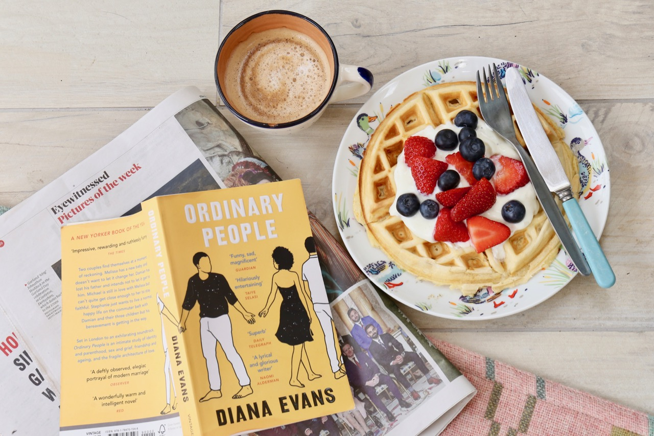 Book, coffee and waffles