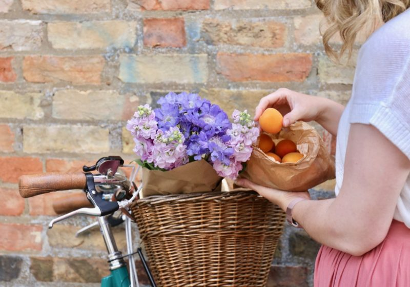Bike basket with flowers