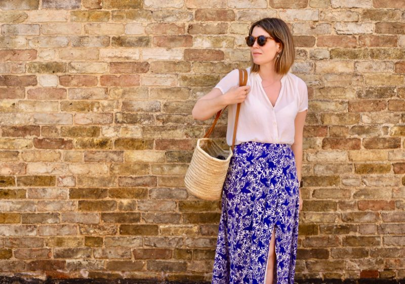 Boden Albany Skirt and French market basket