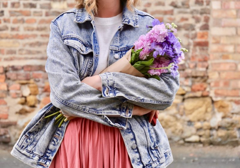 Denim jacket and flowers